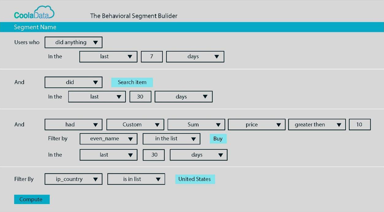 Behavioral analytics segments builder