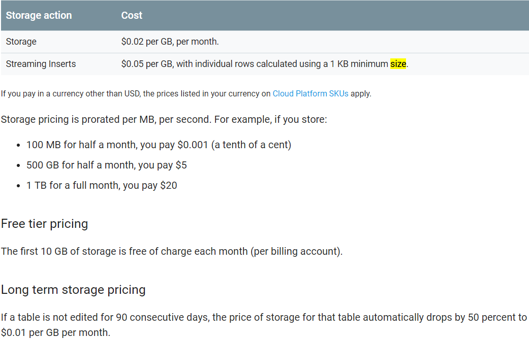 Google BigQuery pricing with storage example